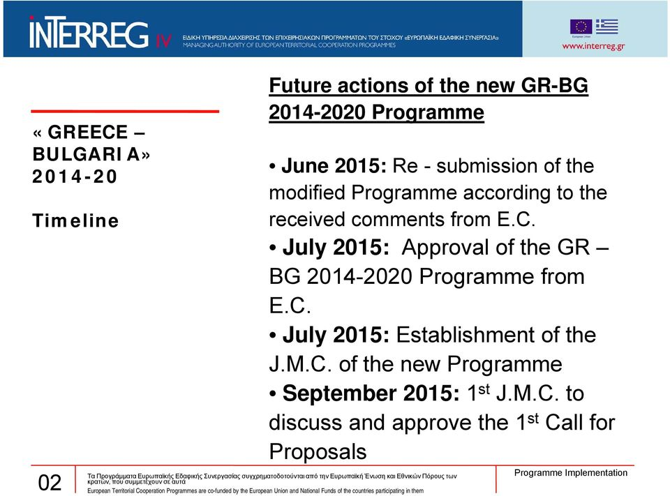 July 2015: Approval of the GR BG 20 Programme from E.C.