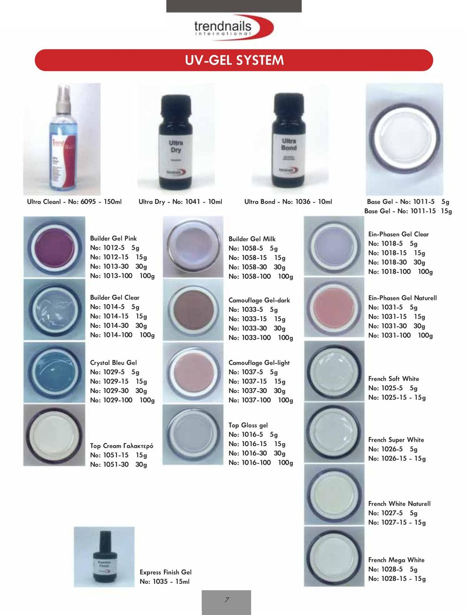 Camouflage Gel-dark No: 1033-5 5g No: 1033-15 15g No: 1033-30 30g No: 1033-100 100g Ein-Phasen Gel Clear No: 1018-5 5g No: 1018-15 15g No: 1018-30 30g No: 1018-100 100g Ein-Phasen Gel Naturell No: