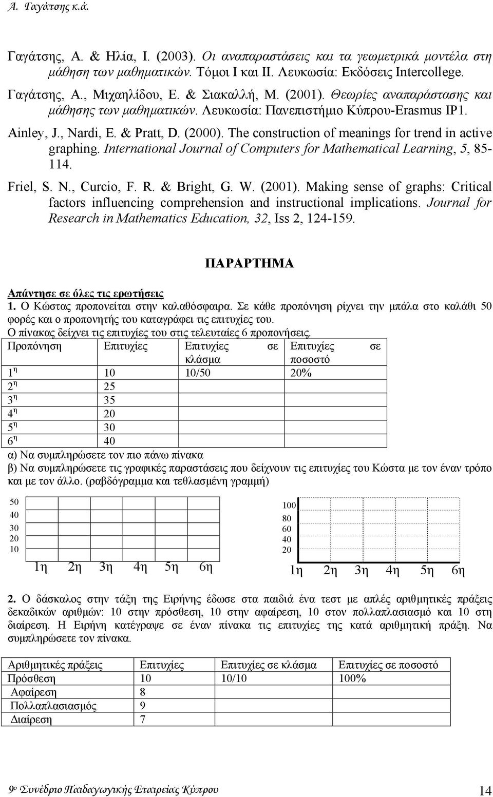 The construction of meanings for trend in active graphing. International Journal of Computers for Mathematical Learning, 5, 85-114. Friel, S. N., Curcio, F. R. & Bright, G. W. (2001).