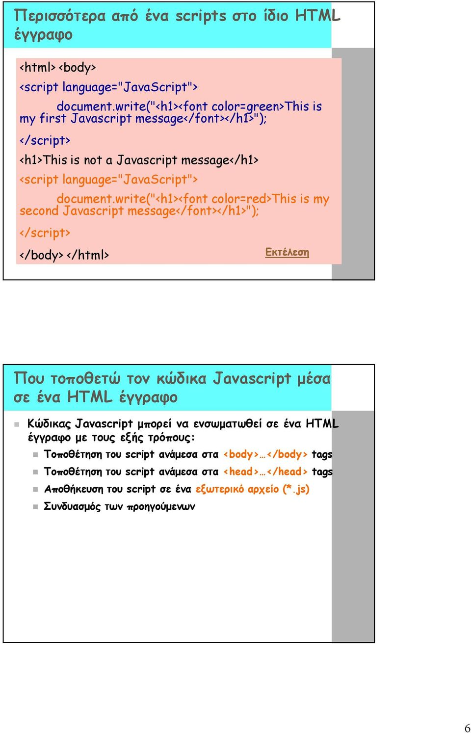 "write(""<h1><font color=red>this is my second Javascript message</font></h1>""); </body> </html> Που τοποθετώ τον κώδικα Javascript μέσα σε ένα HTML έγγραφο"