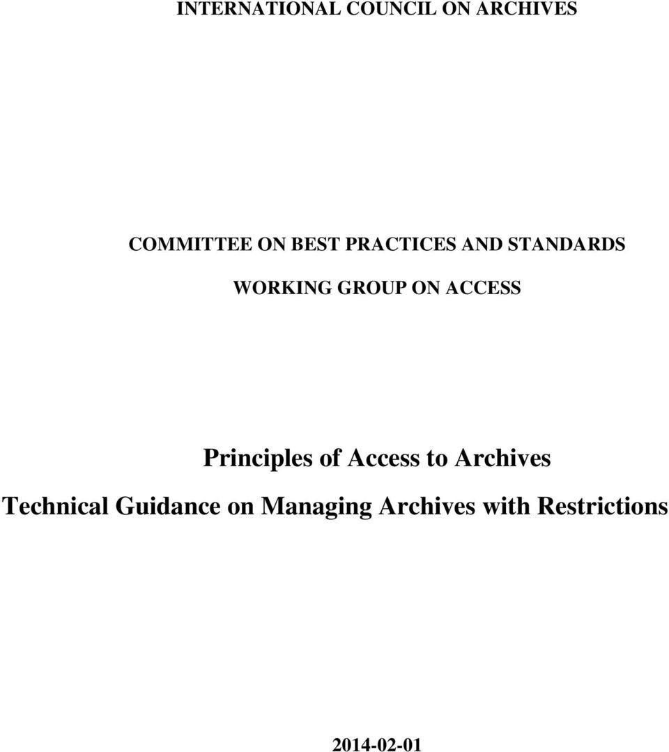 ACCESS Principles of Access to Archives Technical
