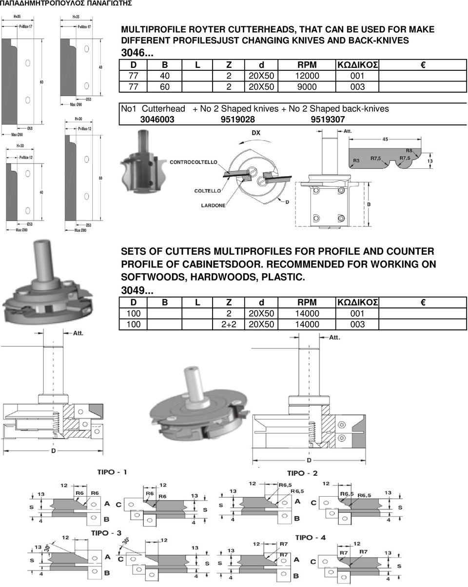 back-knives 3046003 9519028 9519307 SETS OF CUTTERS MULTIPROFILES FOR PROFILE AND COUNTER PROFILE OF CABINETSDOOR.