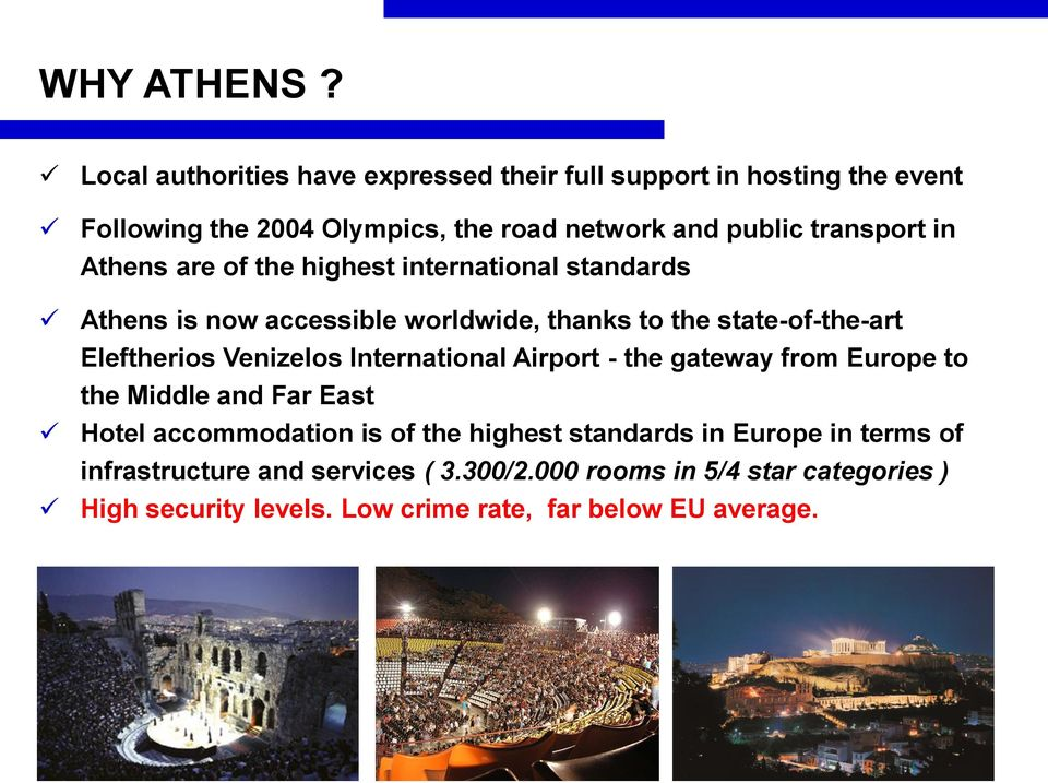 network and public transport in Athens are of the highest international standards Athens is now accessible worldwide, thanks to the state-of-the-art