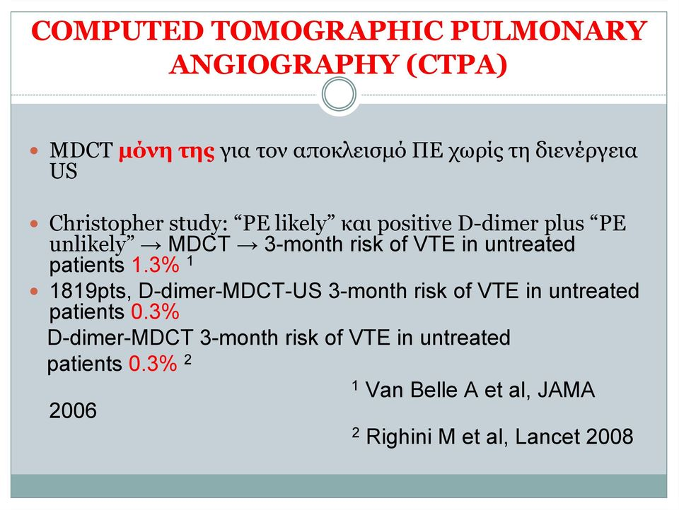 untreated patients 1.3% 1 1819pts, D-dimer-MDCT-US 3-month risk of VTE in untreated patients 0.