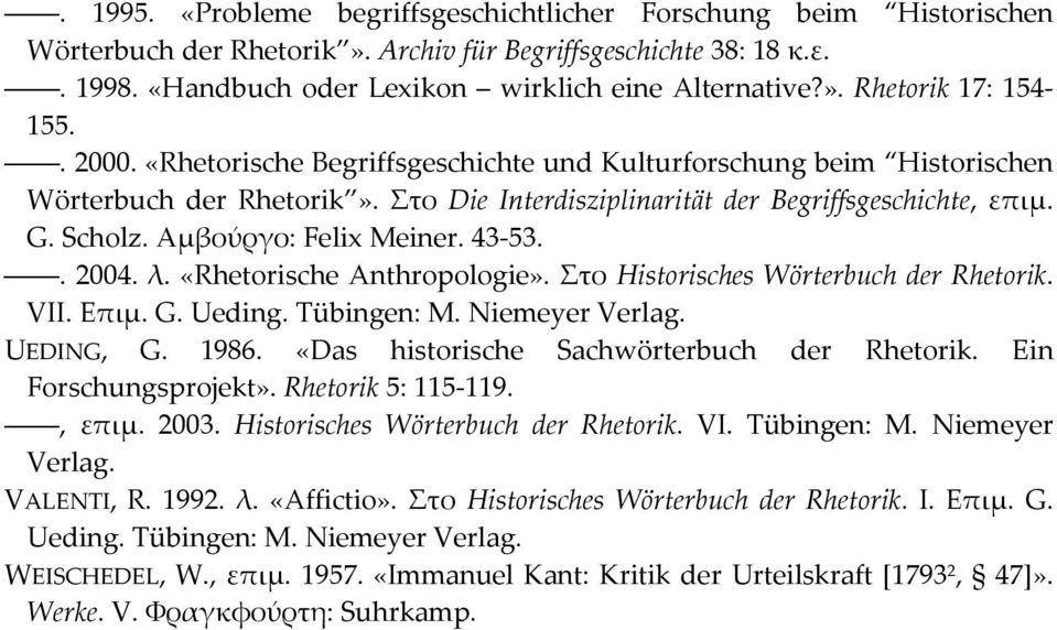 43 53.. 2004. λ. «Rhetorische Anthropologie». Στο Historisches Wörterbuch der Rhetorik. VII. Επιμ. G. Ueding. Tübingen: M. Niemeyer Verlag. UEDING, G. 1986.
