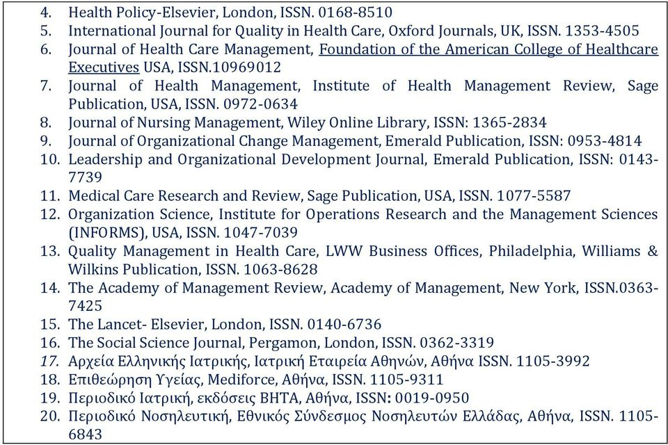 Journal of Health Management, Institute of Health Management Review, Sage Publication, USA, ISSN. 0972-0634 8. Journal of Nursing Management, Wiley Online Library, ISSN: 1365-2834 9.