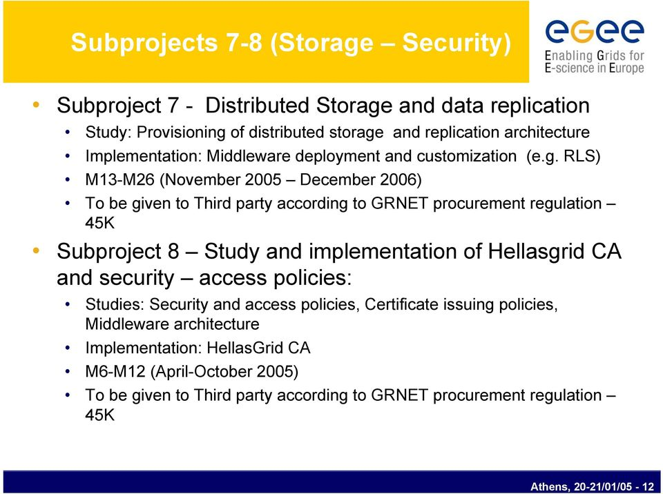 RLS) M13-M26 (November 2005 December 2006) To be given to Third party according to GRNET procurement regulation 45K Subproject 8 Study and implementation of Hellasgrid