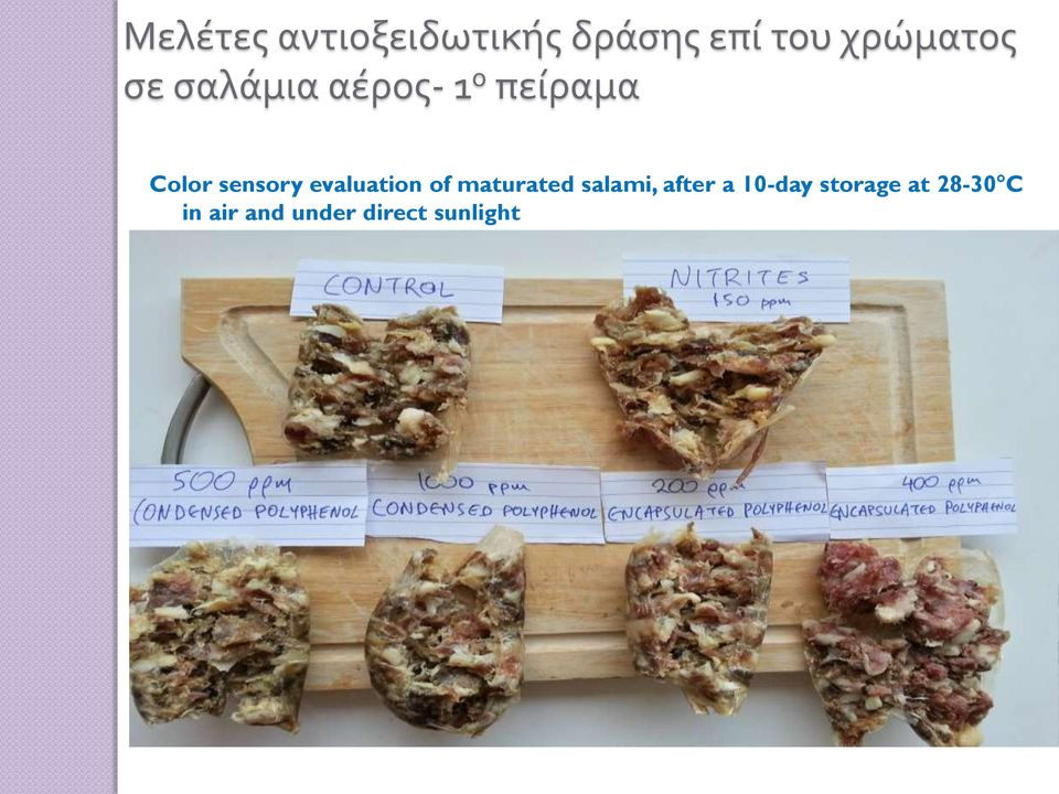 evaluation of maturated salami, after a 10-day