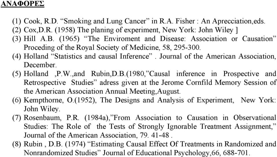 Journal of the American Association, December. (5) Holland,P.W.,and Rubin,D.B.