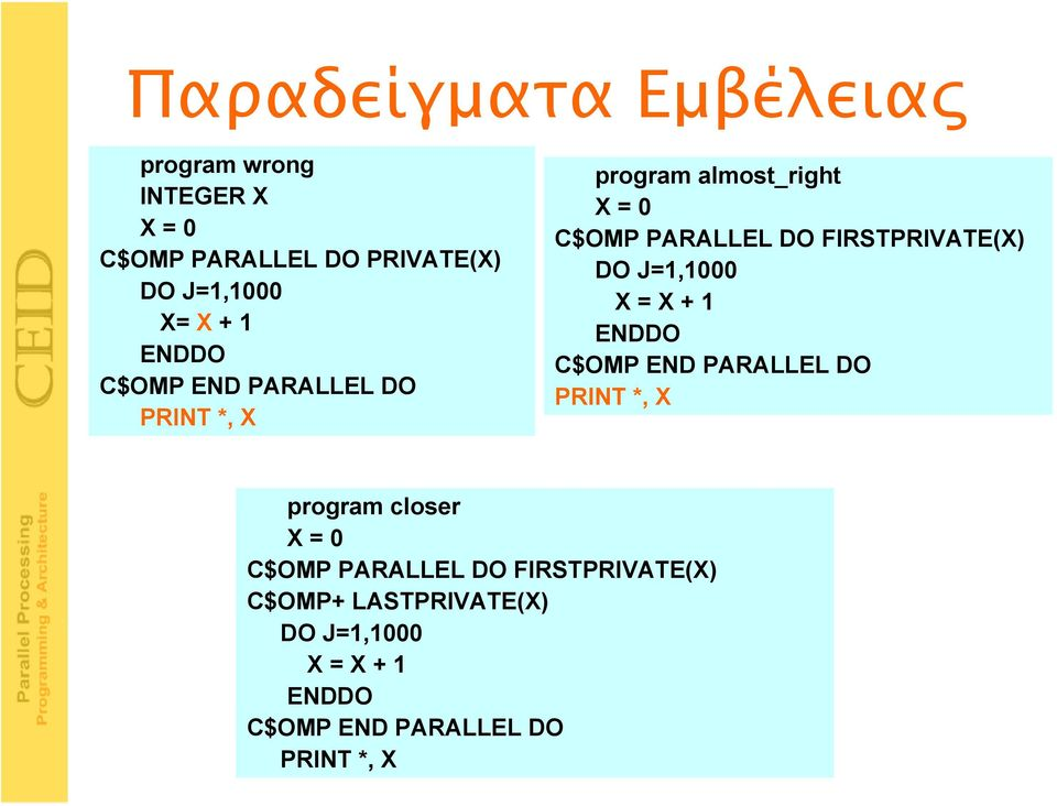 FIRSTPRIVATE(X) DO J=1,1000 X = X + 1 ENDDO C$OMP END PARALLEL DO PRINT *, X program closer X = 0