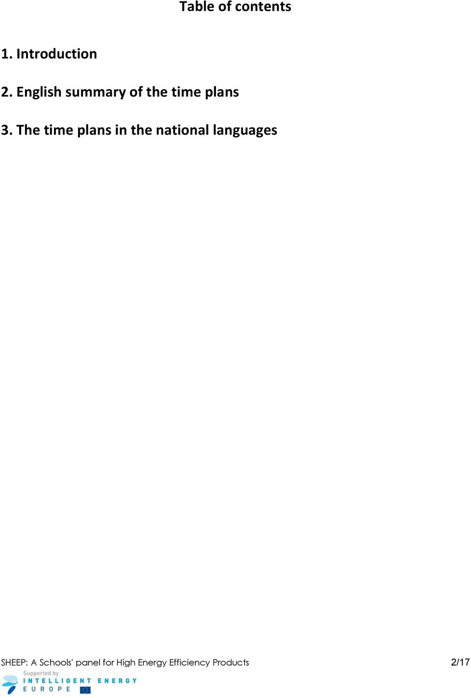 The time plans in the national languages