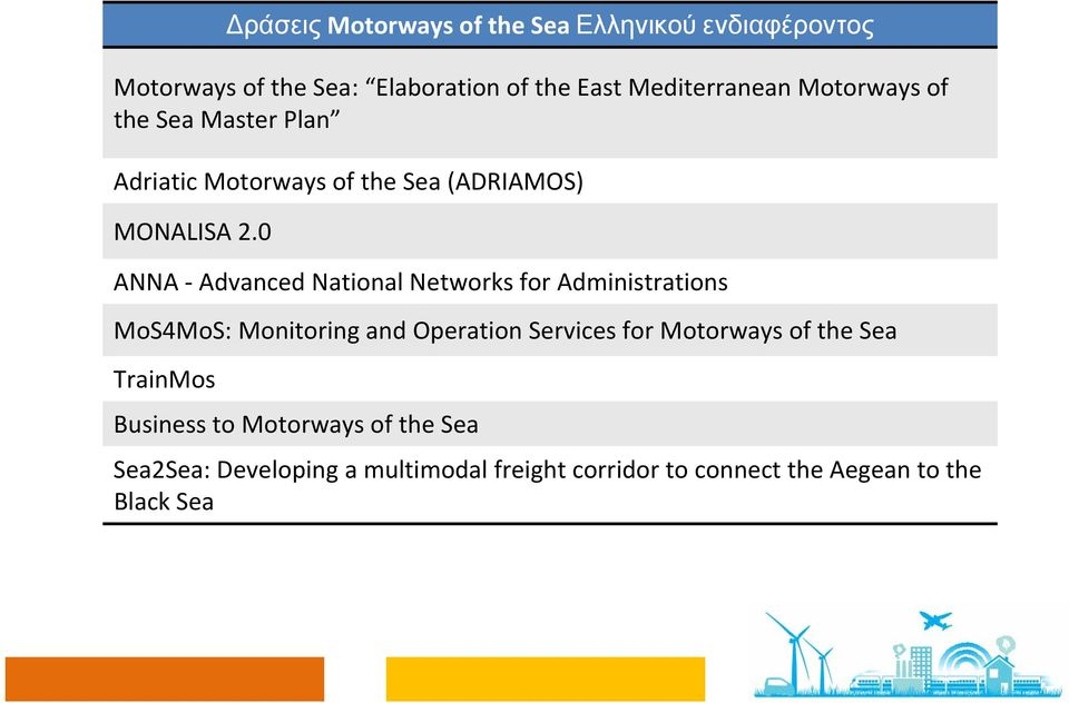 0 ANNA Advanced National Networks for Administrations MoS4MoS: Monitoring and Operation Services for Motorways