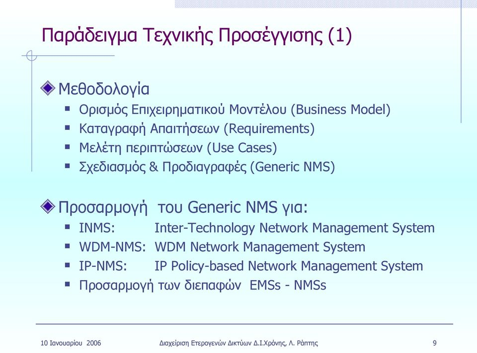 ) Προσαρμογή του Generic για: I: Inter-Technology System WDM-: WDM System IP-: IP Policy-based System
