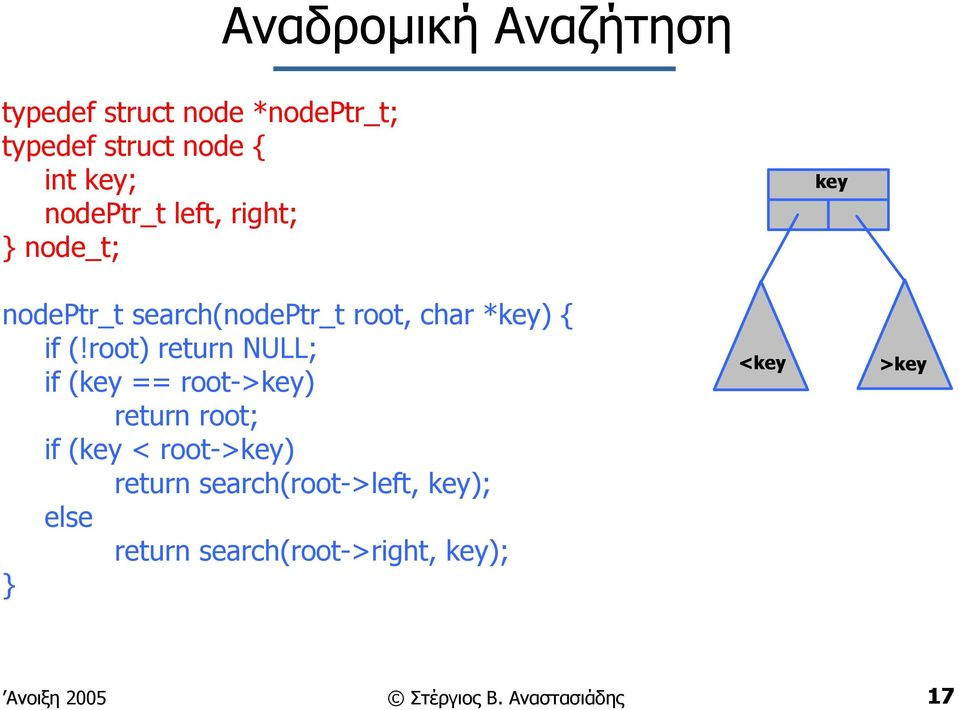 root) return NULL; if (key == root->key) return root; if (key < root->key) return