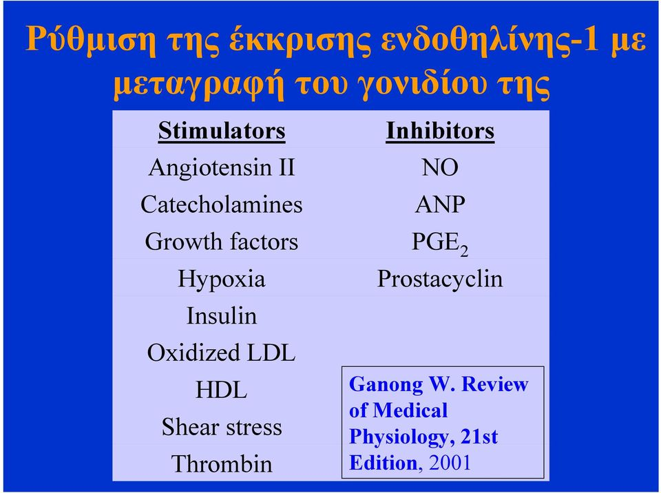 factors PGE 2 Hypoxia Prostacyclin Insulin Oxidized LDL HDL Shear