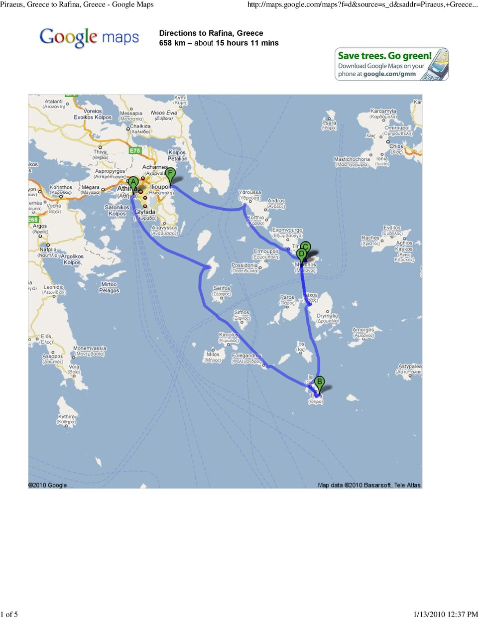 Directions to Rafina,