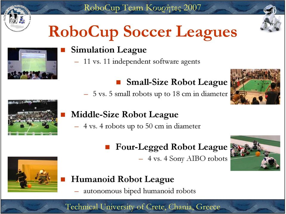 5 small robots up to 18 cm in diameter Middle-Size Robot League 4 vs.
