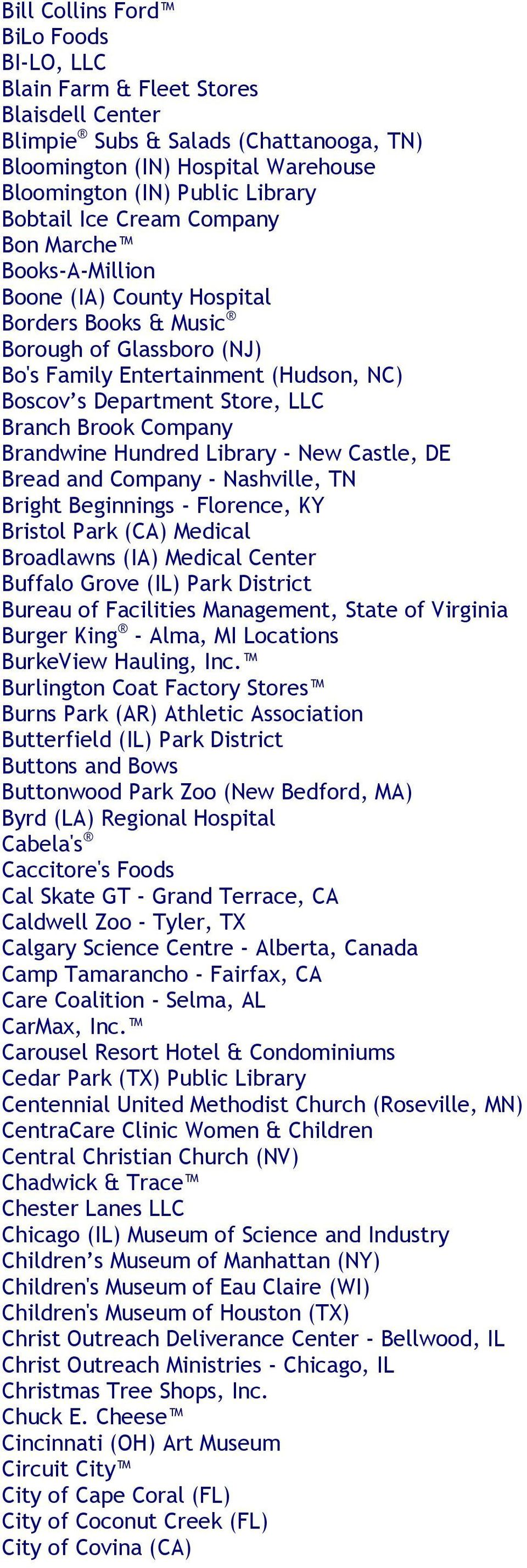 Brook Company Brandwine Hundred Library - New Castle, DE Bread and Company - Nashville, TN Bright Beginnings - Florence, KY Bristol Park (CA) Medical Broadlawns (IA) Medical Center Buffalo Grove (IL)