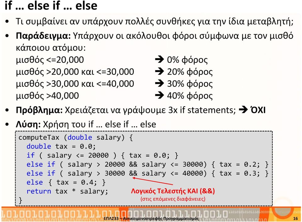 if else if else computetax (double salary) { double tax = 0.0; if ( salary <= 20000 ) { tax = 0.0; else if ( salary > 20000 && salary <= 30000) { tax = 0.