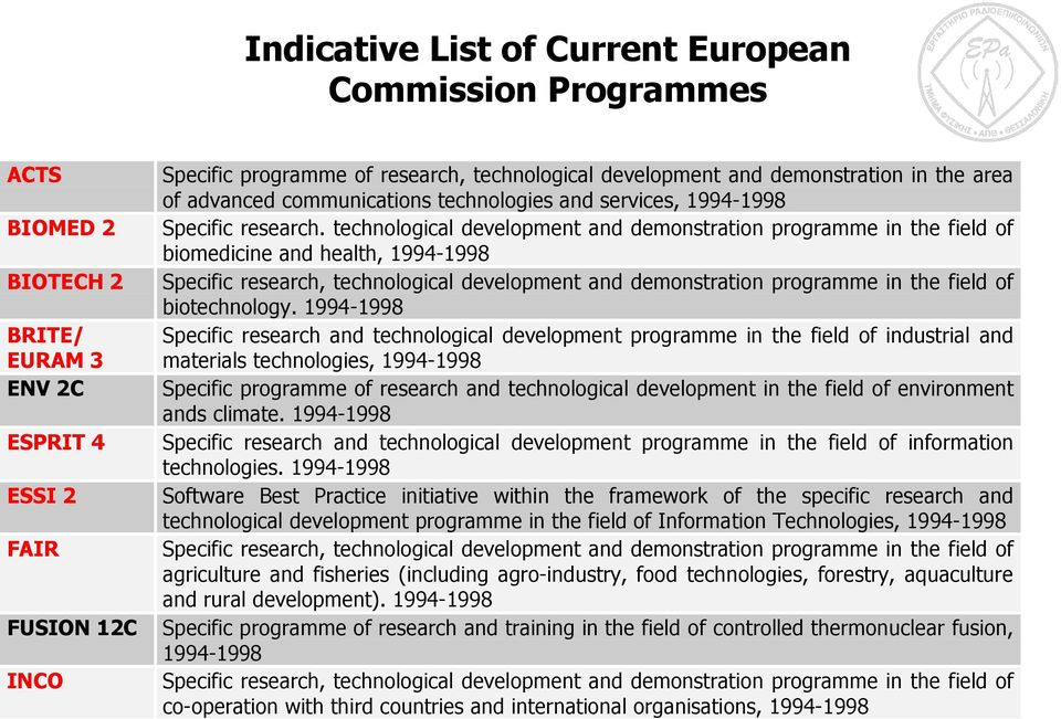 technological development and demonstration programme in the field of biomedicine and health, 1994-1998 Specific research, technological development and demonstration programme in the field of