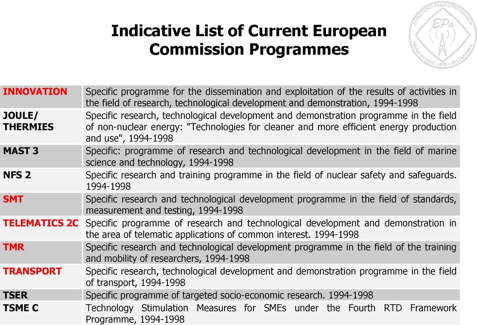 "more efficient energy production and use"", 1994-1998 MAST 3 Specific: programme of research and technological development in the field of marine science and technology, 1994-1998 NFS 2 Specific"