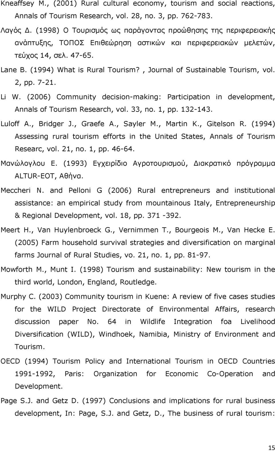 , Journal of Sustainable Tourism, vol. 2, pp. 7-21. Li W. (2006) Community decision-making: Participation in development, Annals of Tourism Research, vol. 33, no. 1, pp. 132-143. Luloff A., Bridger J.