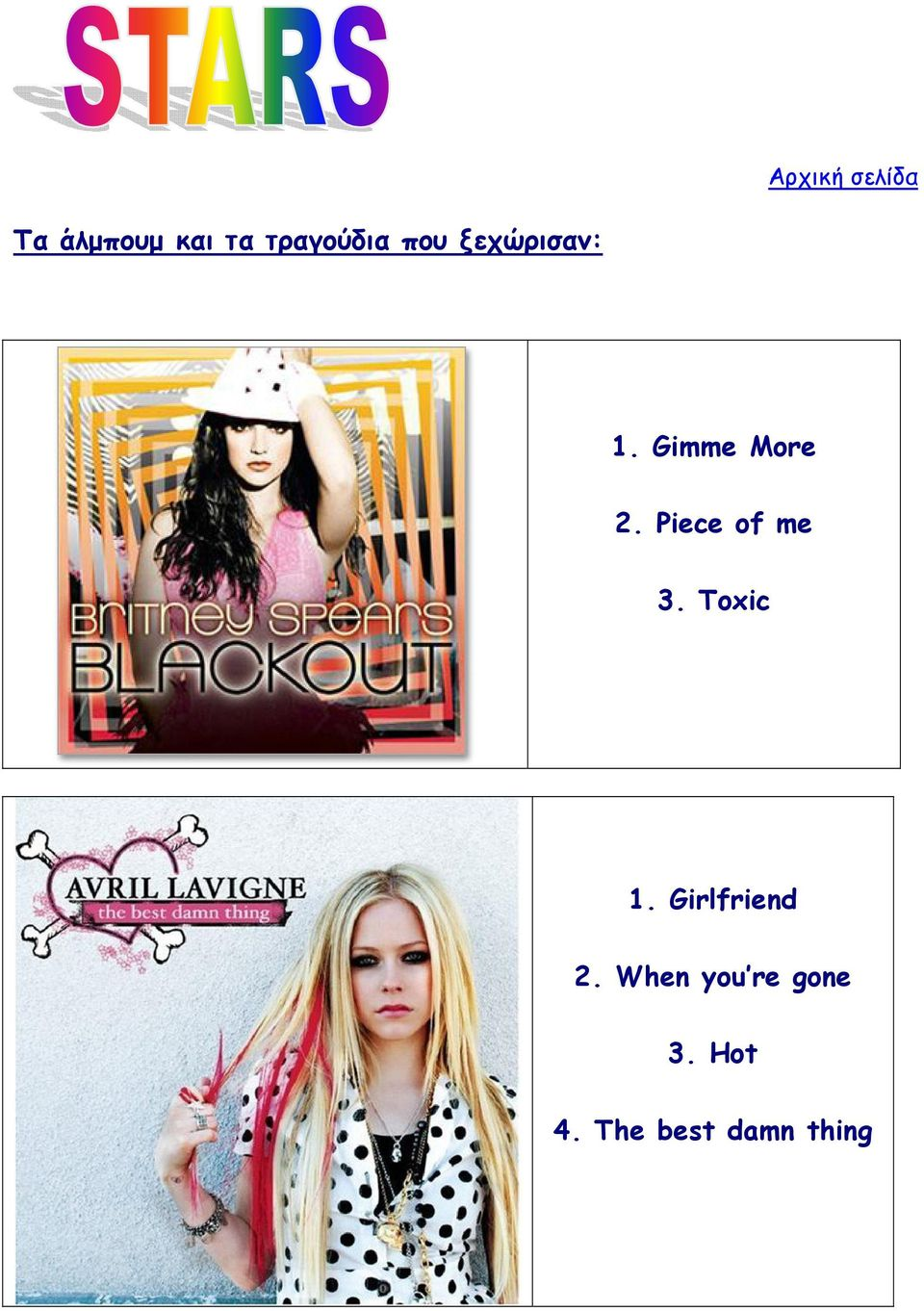 Gimme More 2. Piece of me 3. Toxic 1.