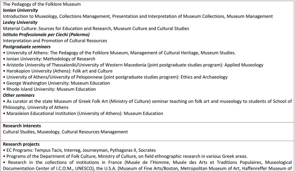 seminars University of Athens: The Pedagogy of the Folklore Museum, Management of Cultural Heritage, Museum Studies.