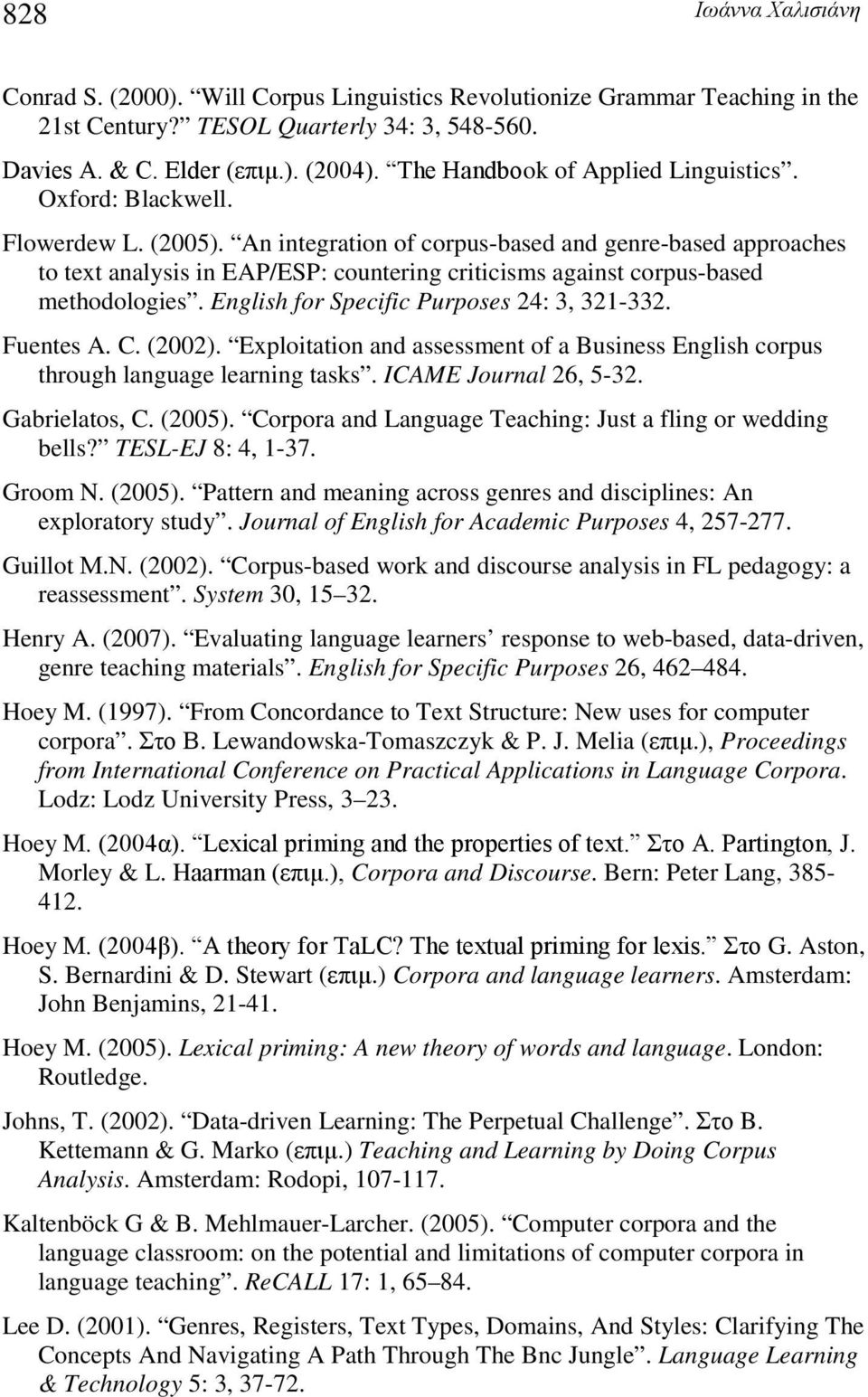 An integration of corpus-based and genre-based approaches to text analysis in EAP/ESP: countering criticisms against corpus-based methodologies. English for Specific Purposes 24: 3, 321-332.
