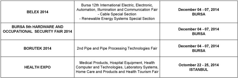 Section BORUTEK 2014 2nd Pipe and Pipe Processing Technologies Fair HEALTH EXPO Medical Products, Hospital