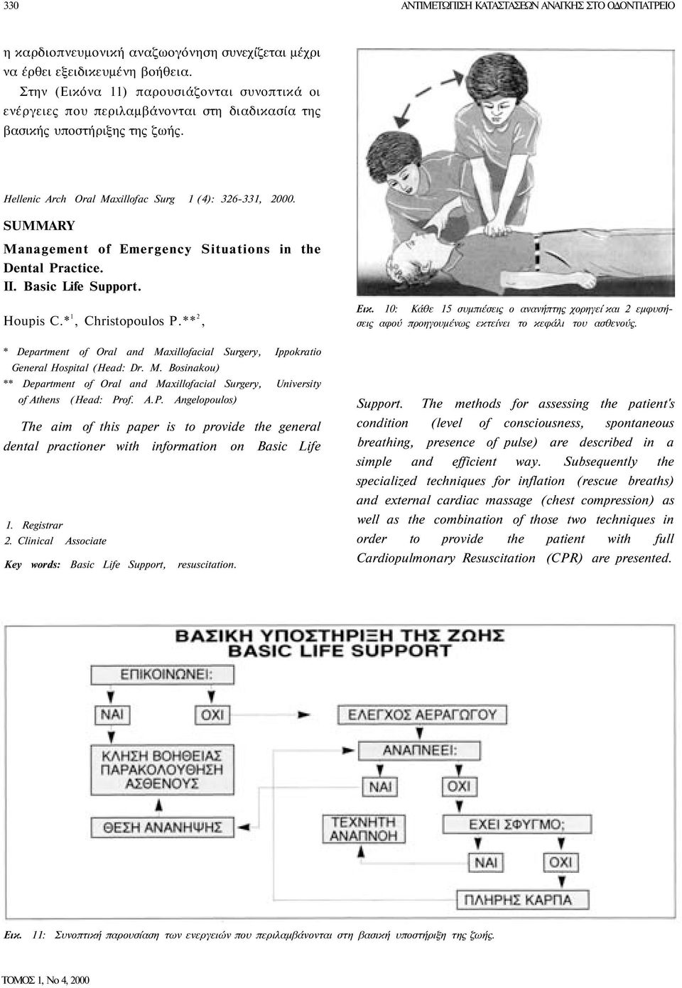 SUMMARY Management of Emergency Situations in the Dental Practice. II. Basic Life Support. Houpis C.* 1, Christopoulos P.