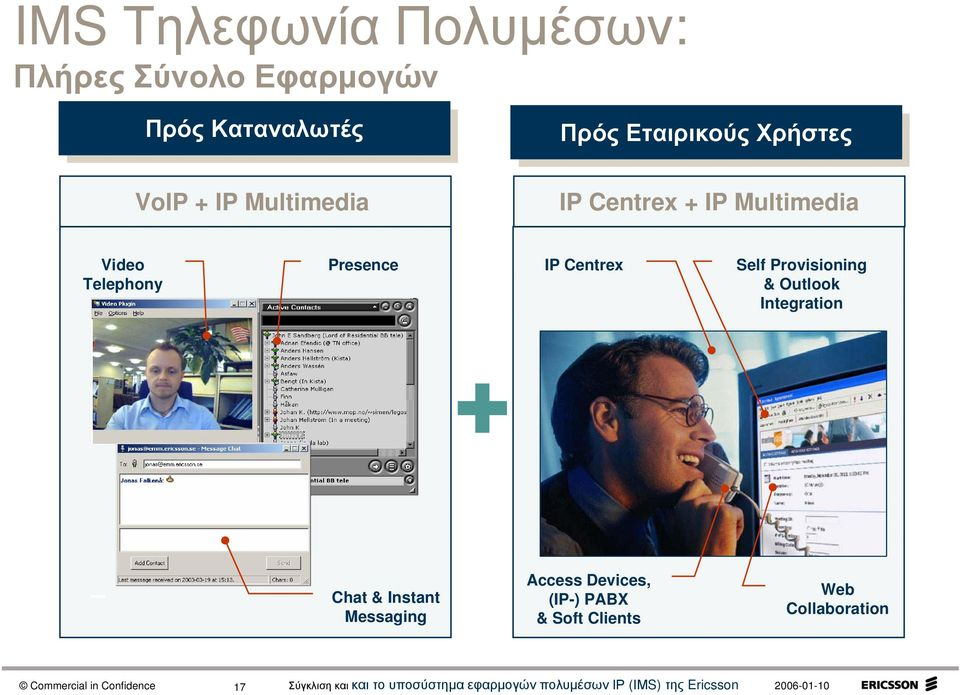 Video Telephony Presence IP Centrex Self Provisioning & Outlook Integration Chat
