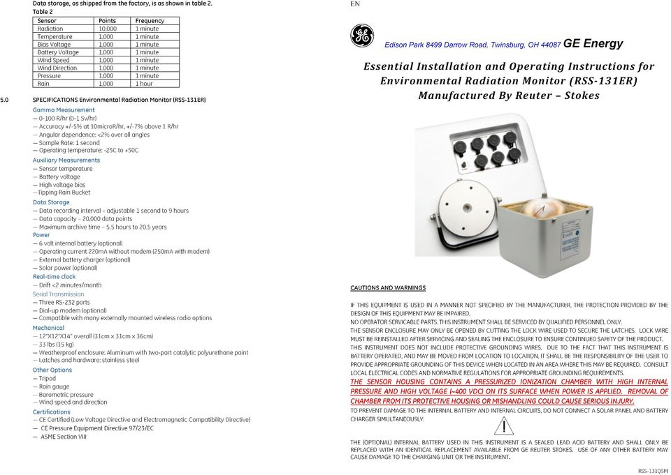 0 SPECIFICATIONS Environmental Radiation Monitor (RSS-131ER) EN g Edison Park 8499 Darrow Road, Twinsburg, OH 44087 GE Energy Essential Installation and Operating Instructions for Environmental