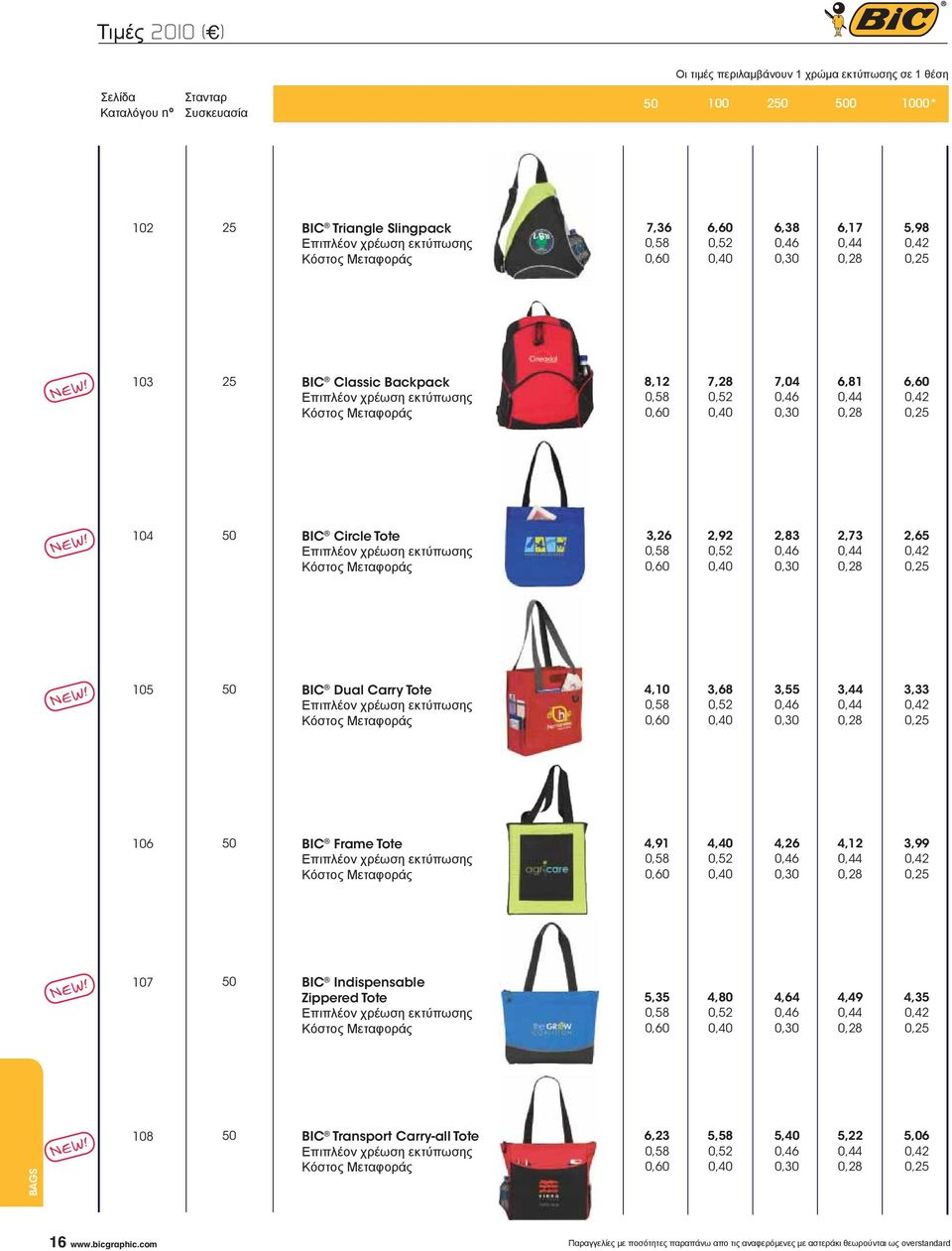 BIC Frame Tote 4,91 4,40 4,26 4,12 3,99 107 BIC Indispensable Zippered Tote 5,35 4,80 4,64 4,49 4,35 BAGS 108 BIC Transport Carry-all