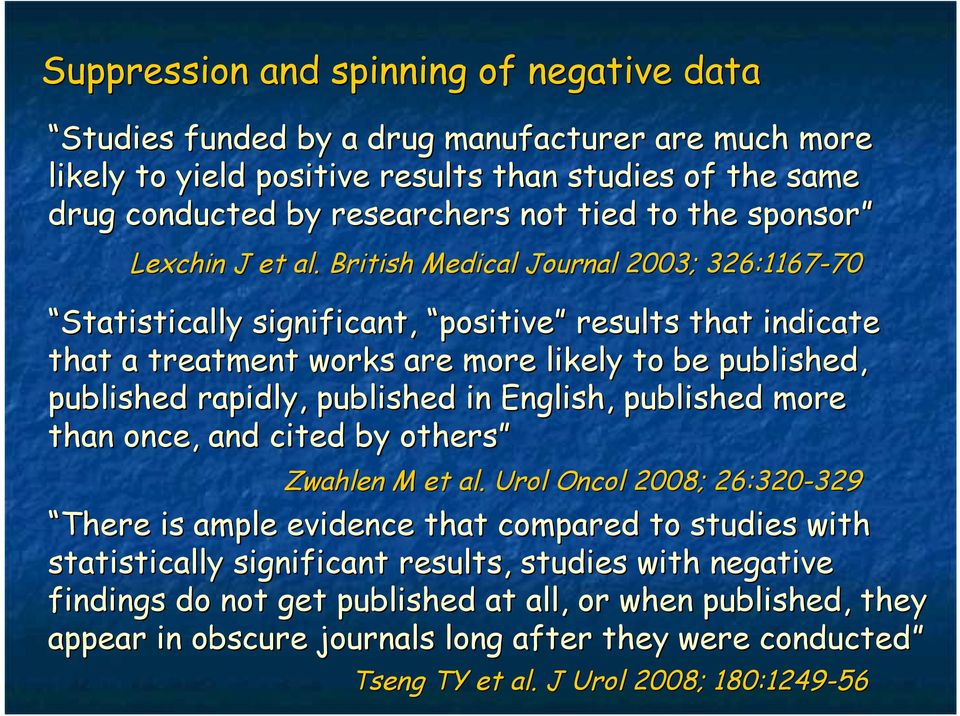 British Medical Journal 2003; 326:1167-70 70 Statistically significant, positive results that indicate that a treatment works are more likely to be published, published rapidly, published in
