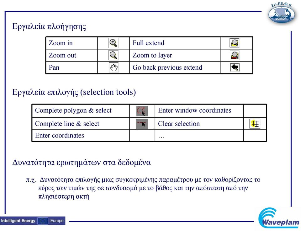 coordinates Clear selection Δυνατότητα ερωτημάτων στα δεδομένα π.χ.