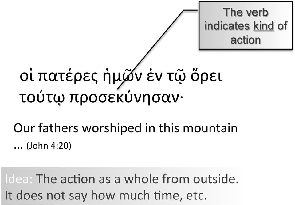 in this mountain (John 4:20) Idea: The acnon as a