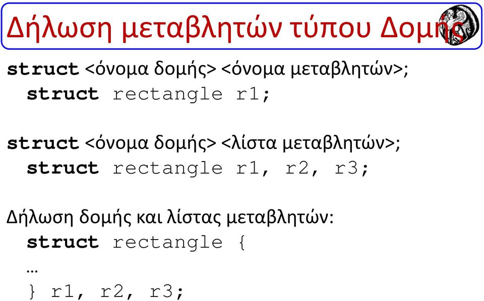 <λίστα μεταβλητών>; struct rectangle r1, r2, r3; Δήλωση