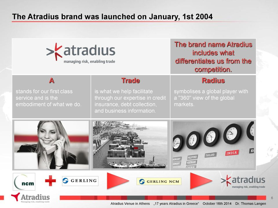 The brand name Atradius includes what differentiates us from the competition.