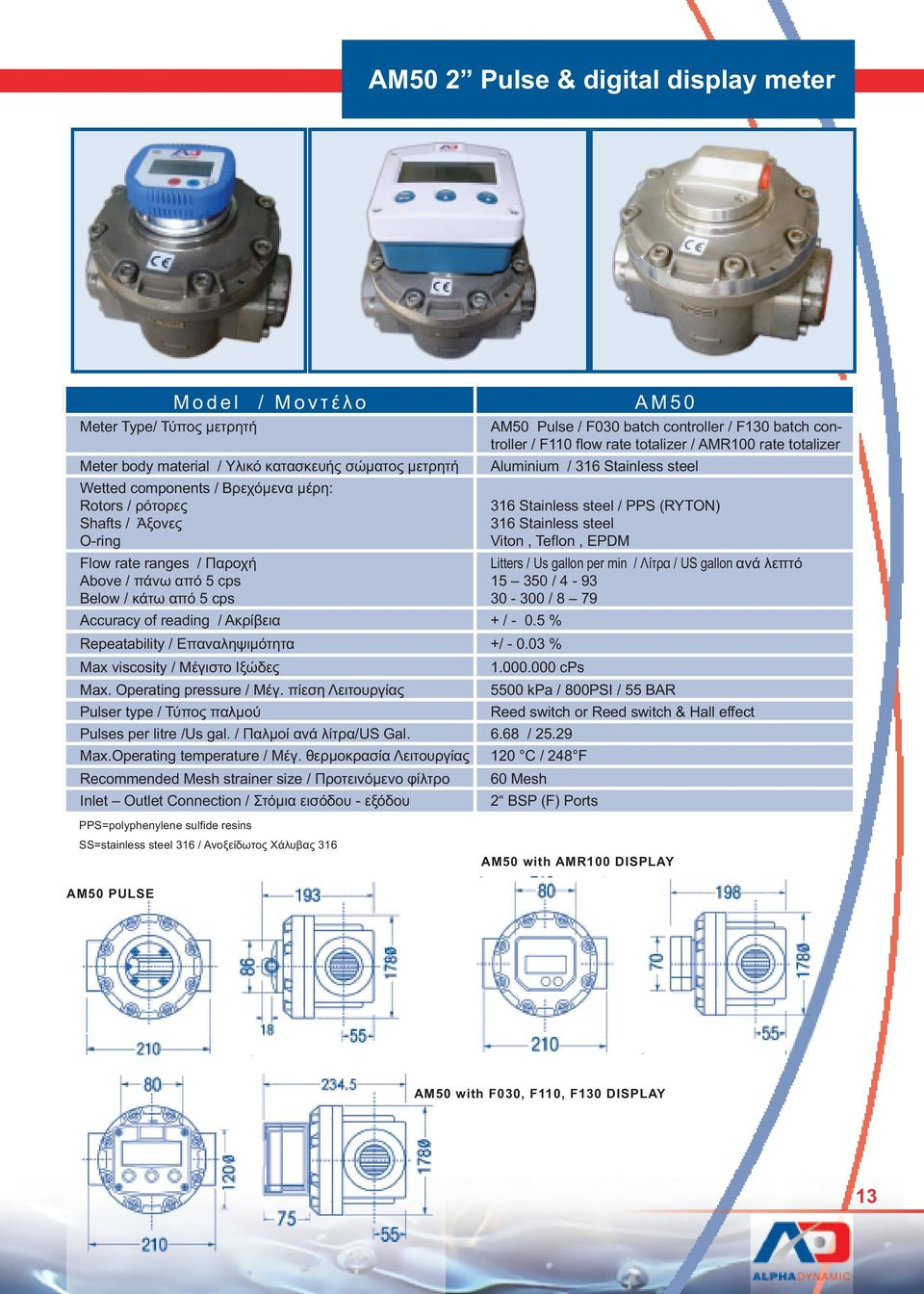 Operating pressure / Μέγ. πίεση Λειτουργίας 5500 kpa / 800PSI / 55 BAR Pulser type / Τύπος παλµού Reed switch or Reed switch & Hall effect Pulses per litre /Us gal. / Παλµοί ανά λίτρα/us Gal. 6.