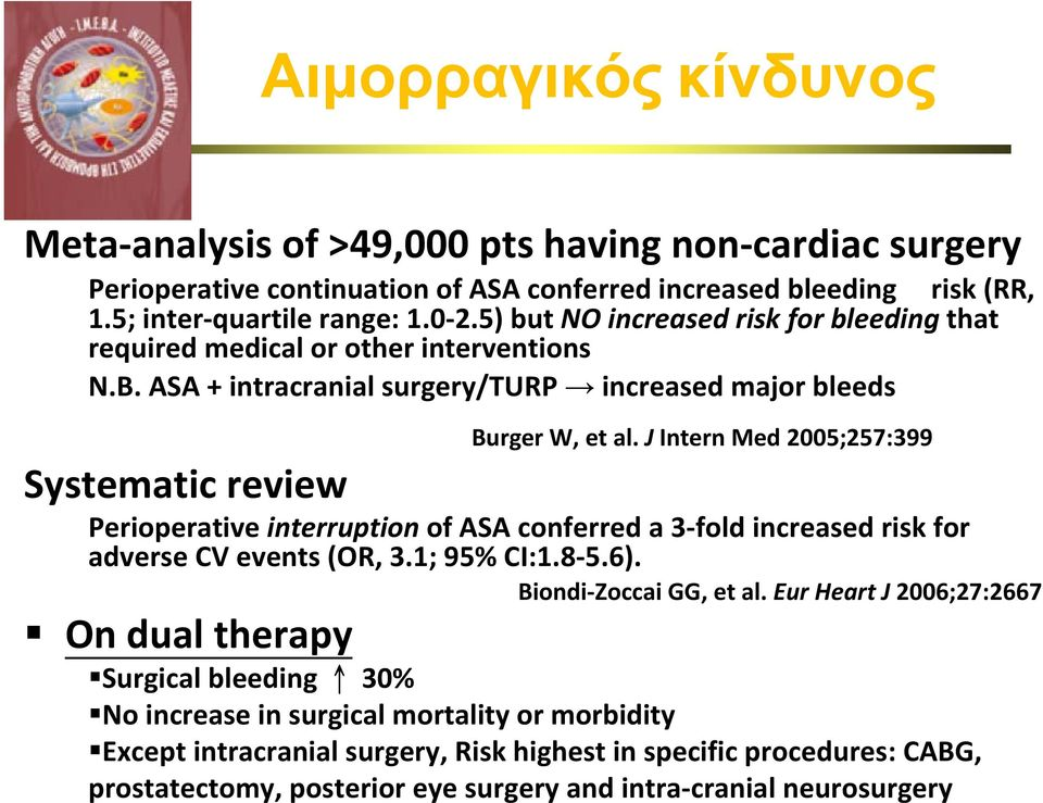 J Intern Med 2005;257:399 Systematic review Perioperative interruption of ASA conferred a 3 fold increased risk for adverse CV events (OR, 3.1; 95% CI:1.8 5.6). Biondi Zoccai GG, et al.