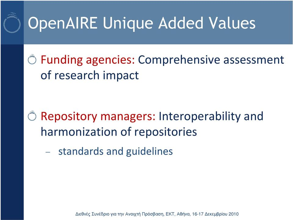impact Repository managers: Interoperability
