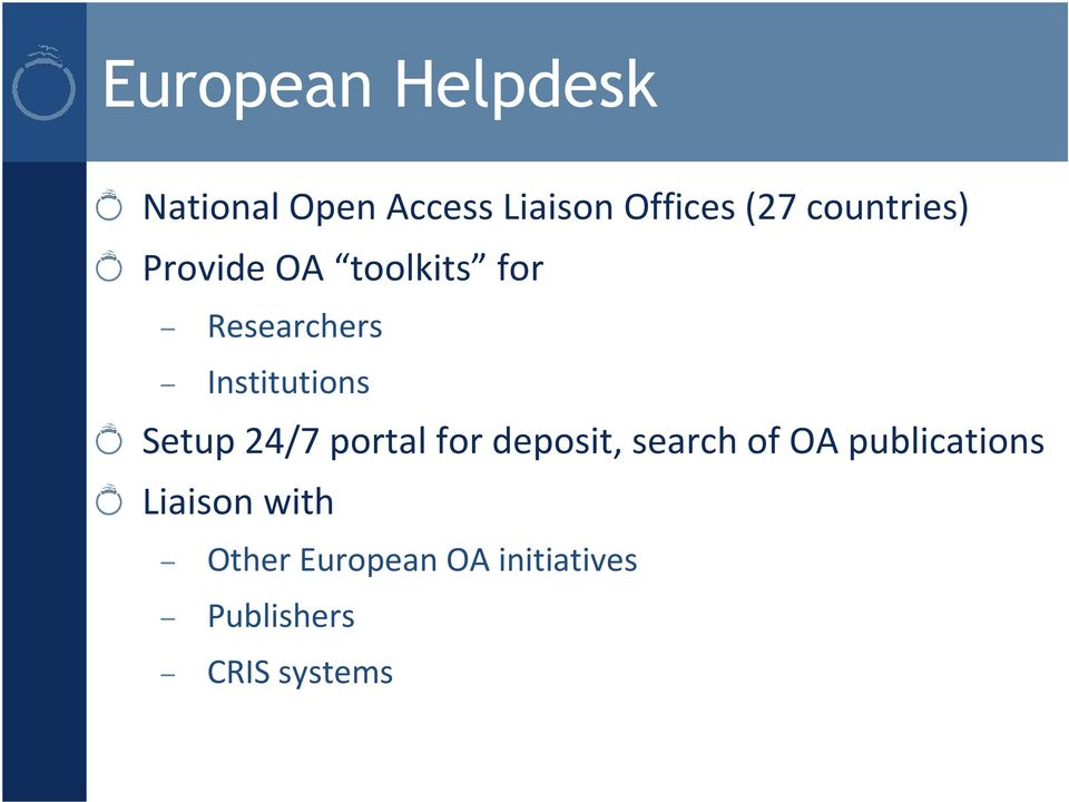 Setup 24/7 portal for deposit, search of OA publications