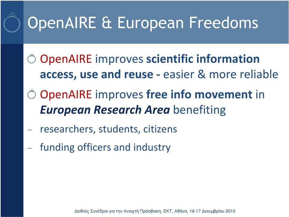 reliable OpenAIREimproves free info movement in European