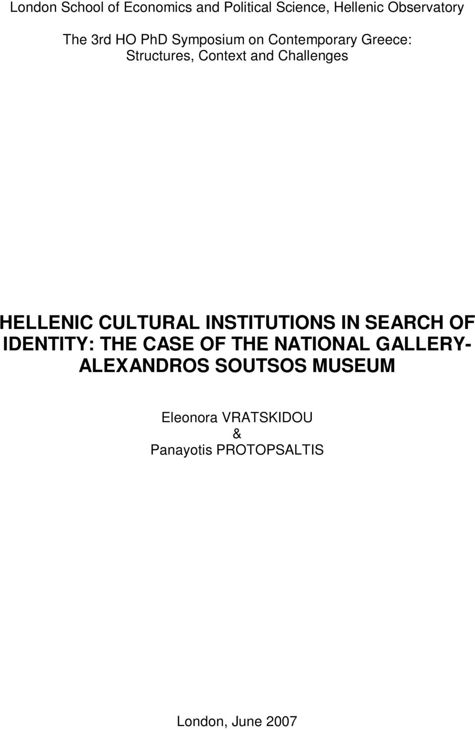 CULTURAL INSTITUTIONS IN SEARCH OF IDENTITY: THE CASE OF THE NATIONAL GALLERY-