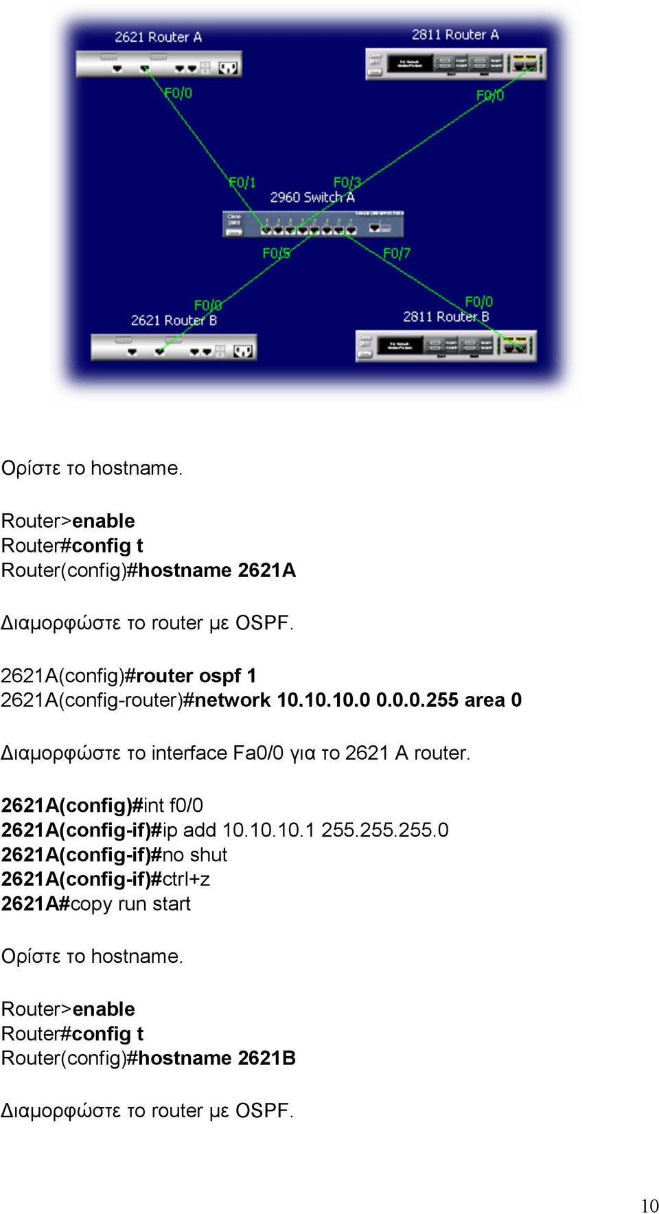 2621A(config)#int f0/0 2621A(config-if)#ip add 10.10.10.1 255.