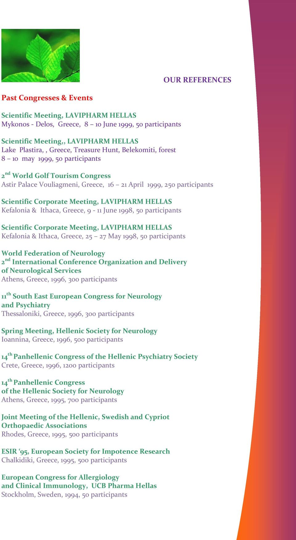 9-11 June 1998, 50 participants Scientific Corporate Meeting, LAVIPHARM HELLAS Kefalonia & Ιthaca, Greece, 25 27 Μay 1998, 50 participants World Federation of Neurology 2 nd International Conference