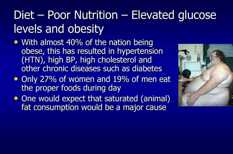 other chronic diseases such as diabetes Only 27% of women and 19% of men eat the proper