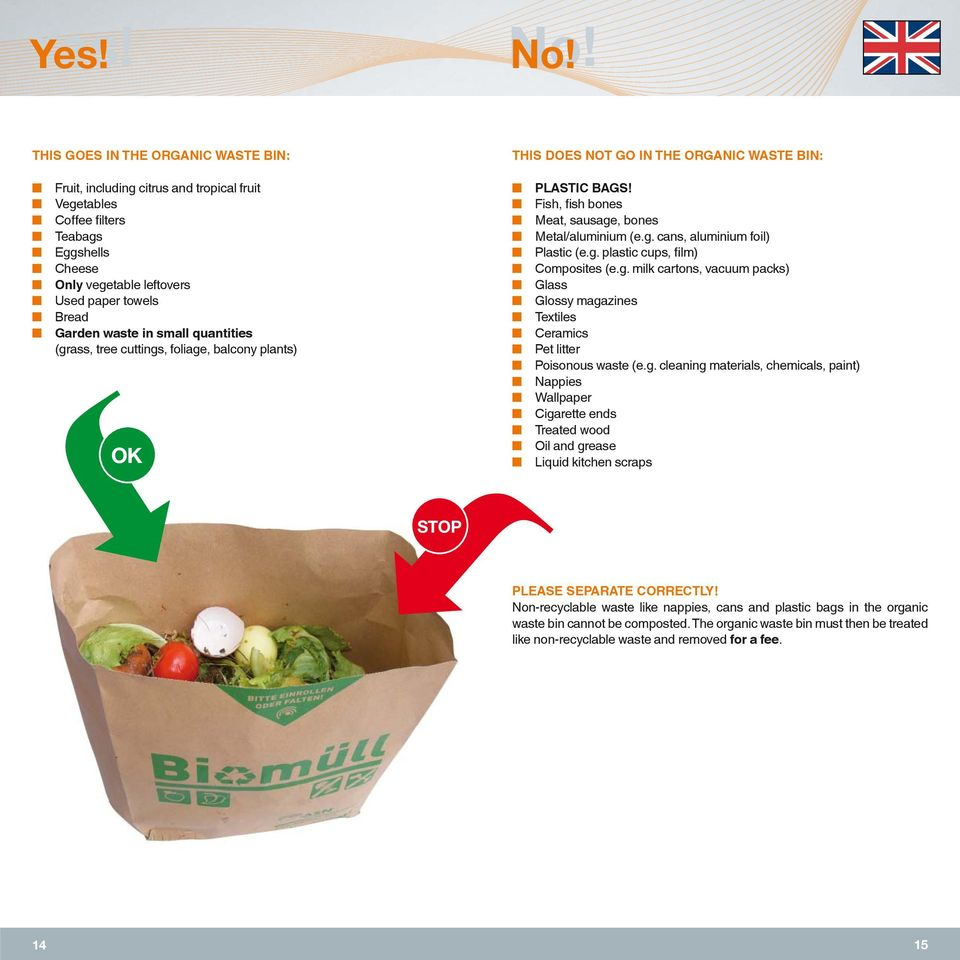 small quantities (grass, tree cuttings, foliage, balcony plants) PLASTIC BAGS! Fish, fish bones Meat, sausage, bones Metal/aluminium (e.g. cans, aluminium foil) Plastic (e.g. plastic cups, film) Composites (e.
