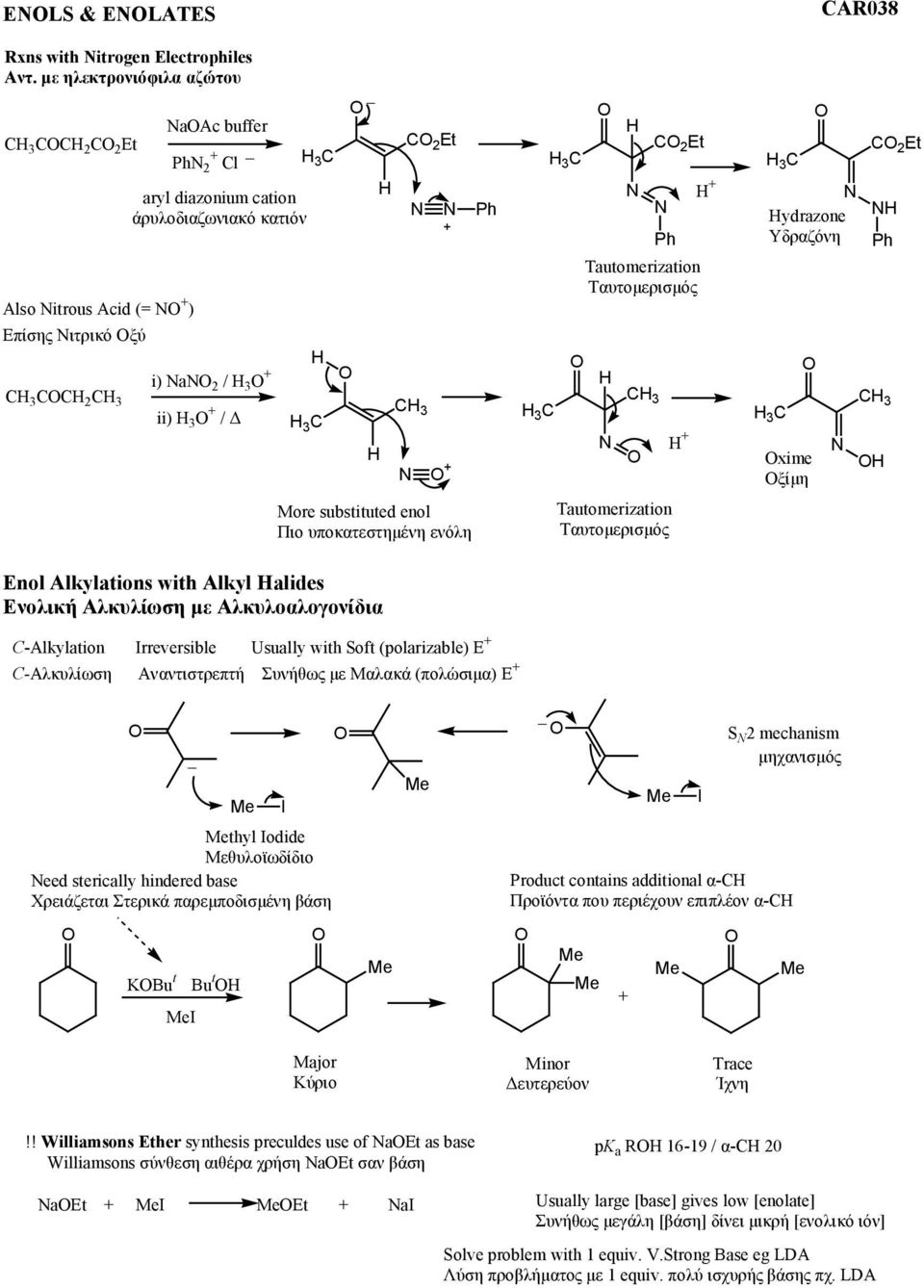 substituted enol Πιο υποκατστηµένη νόλη Enol Alkylations with Alkyl alides Ενολική Αλκυλίωση µ Αλκυλοαλογονίδια C-Alkylation Irreversible Usually with Soft (polarizable) E C-Αλκυλίωση Αναντιστρπτή